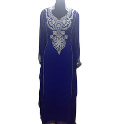 Hand Work Party Wear Ladies Blue Long Dresses