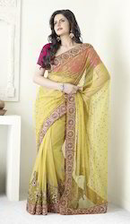 Cotton Bridal Wear Embroidered Sarees