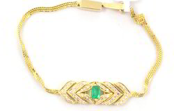 18k Emerald And Diamond Yellow Gold Bracelet