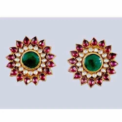 Hair & Head Jewelry Fashion Jewelry Friendly Us Indian Bollywood Kundan Meenakari Gold Plated Green Jhumki Earring Partywear