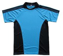 Blue, Black Men Polyester Sports T Shirt