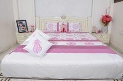 Brocade Silk Dupion Bed Cover With Pillow Cushion 5 Pcs Set