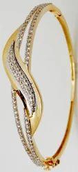 Pave Diamonds Gold Jewellery Bangle Bracelet