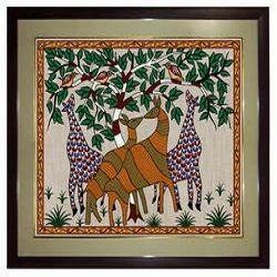Tribal Art Painting Screen Print Ziraffe Green India Handicrafts