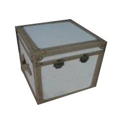 Leather Wood Trunk Side Table