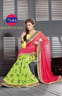 Red And Neon Green Colored Half Half Concept Saree