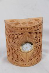 Carving Pine Wood Watch With Pen Holder