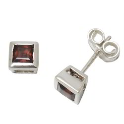 Princess Cut Garnet Gemstone Studs