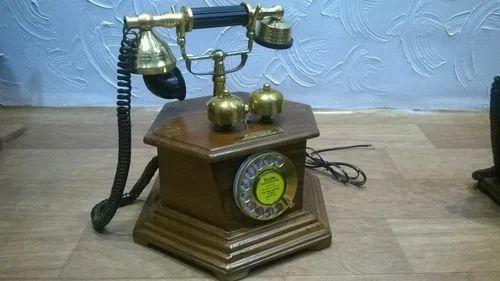 6 Corner Wooden Antique Telephone