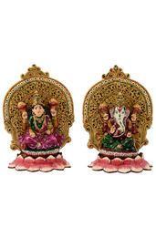 Bharat Handicrafts Meenakari Laxmi Ganesha Statue
