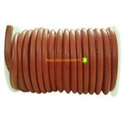 Dark Red Stitched Round Genuine Leather Cord
