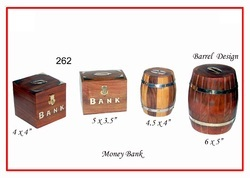 Dark Brown Wooden Money Piggy Bank Box, for Personal and Gift