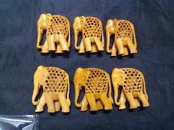 Sandalwood Jaali Elephant Statue