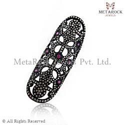 Filigree Pave Diamond Sterling Silver Ring