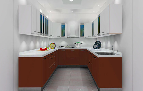 U Shape Modular Kitchens Living Room Plastic Furniture Geobal Interiors In Thrissur Id