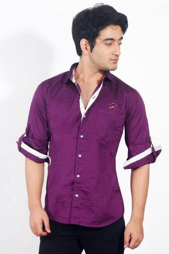 Mens Casual Shirts Purple Satin Fancy Shirt For Men