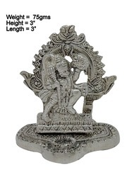 White Metal Silver Plated Hanuman Ji In Frame Having Hill