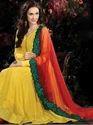 Bright Yellow Gorgette Saree