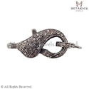 Pave Diamond Silver Clasp Finding