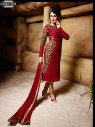 Red Georgette Embroidery Salwar Kameez