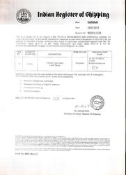 Certificate from Indian Registrar of Shipping