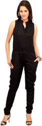 Women Black Sleeveless Jumpsuits