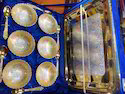 Gold Plated Tray With 6 Bowls