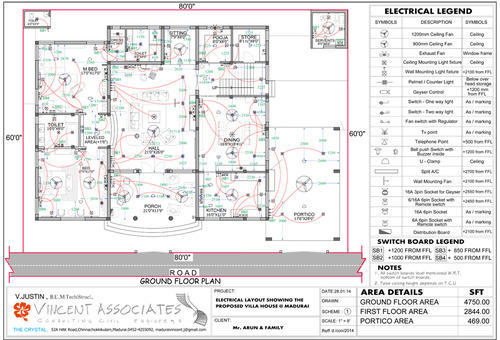 d elevation and electrical drawing service provider  vincent, electrical drawing