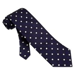 Navy Blue Silk Polka Dots Tie