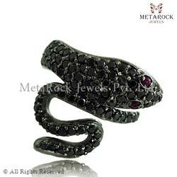 Ruby Gemstone Black Diamond Snake Ring