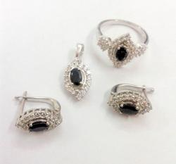 Black Rhodium Pendant Ring Set