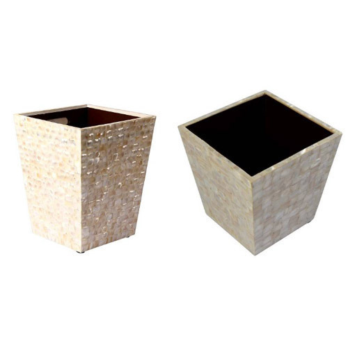 Luxury Waste Basket With Mother Of Pearl Inlay