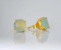 Aqua Chalcedony Prong Set Stud Earring