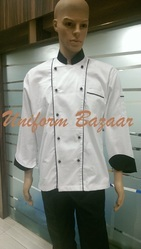 White With Black Piping Chef Coats
