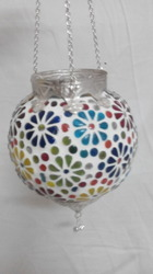 Glass Indian Handicraft Wall Lamp / Antique / Embossed Work