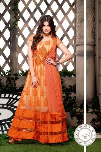 Orange Ladies Anarkali Suit View Specifications Details Of