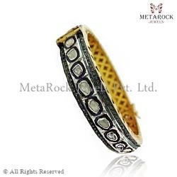 Rose Cut Pave Diamond Handmade Bangle