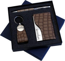 Three Piece Set of Pen,Visiting Card Holder and Key Chain
