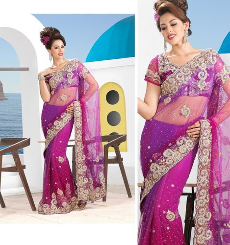 bf9bcc7ffba9f1 Lace Border Stone Work Designer Net Sarees at Rs 3652  piece(s ...