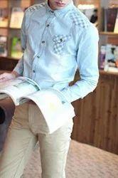 Splicing Denim Jeans Shirt