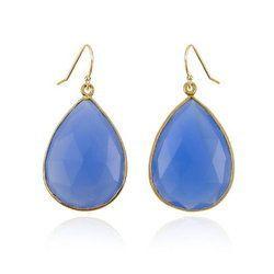 Blue Chalcedony Gold Vermeil Bezel Set Earrings
