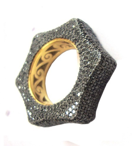 The Mask Jewellery Women' s Black Diamond Ring
