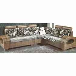 Wood Type Corner Sofa Set - Fabric