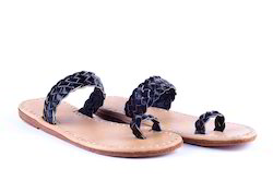 Daily Wear Black Vintage Leather Sandals
