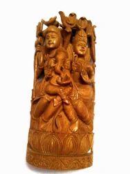 Sandalwood Shiva Family Statue