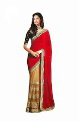 Red and Beige Georgette and Net Designer Saree