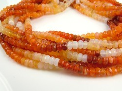 Mexican Fire Opal Rondelles Beads Strand
