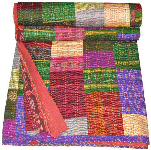 Quilts, Bedspreads & Coverlets Symbol Of The Brand Vintage Indian Sari Patchwork Handmade Kantha Quilt Bedspread Queen Throw Decor Home & Garden