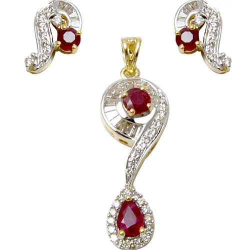 Red ruby and diamond gold pendant set at rs 65000 piece heere ke red ruby and diamond gold pendant set aloadofball Image collections