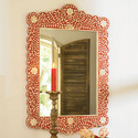 Bone Inlay Arched Mirror Frame